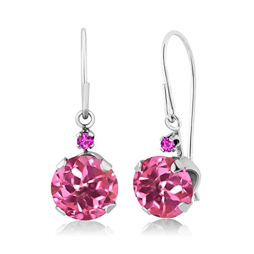 2.04 Ct Round Pink Mystic Topaz Pink Sapphire 14K White Gold Earrings (Gold Pink Topaz Earrings)