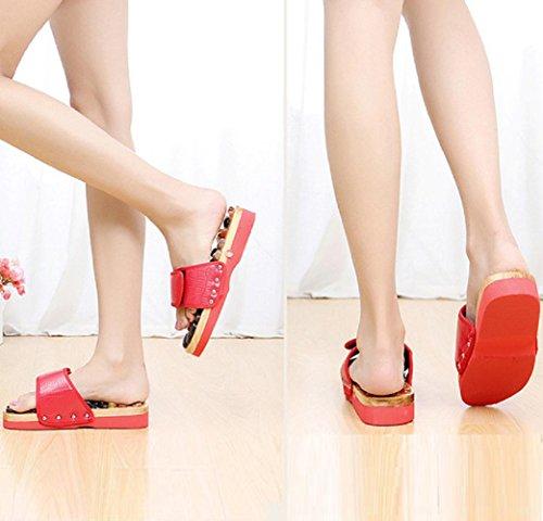 natural red de ágata de 37 de de piedra masaje de de acupresión Zapatos pies masaje zapatillas PxwU6RanOq