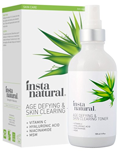 Vitamin C Skin Clearing Face Toner - Natural & Organic Anti Aging Formula with Salicylic Acid & Hyaluronic Acid - Helps Wrinkle, Dark Spot, Fine Lines - Safe for Sensitive Skin - InstaNatural - 4 oz (Best Facial Toner For Acne Prone Skin)