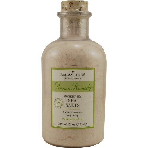 AROMA REMEDY by Aromafloria ANCIENT SEA SPA SALTS 23 OZ BLEND OF TEA TREE, GERANIUM, AND MAY CHANG (PRESERVATIVE FREE) ( Package Of 2 )