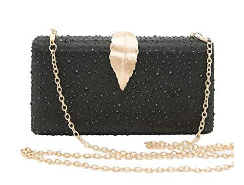Sparkling Envelope Evening Clutch Purse for Women Vandysi Elegant Crystal Bag with Leaf Clasp for Wedding Party Black (Clutch Sparkling Purse)