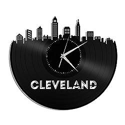 VinylShopUS - Cleveland Ohio Vinyl Wall Clock Cityscape Personalized Decor
