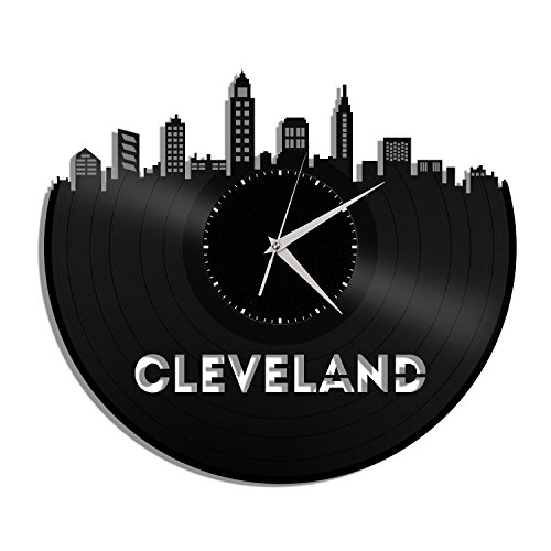 VinylShopUS Cleveland Ohio Vinyl Wall Clock Cityscape Personalized Decor For Sale