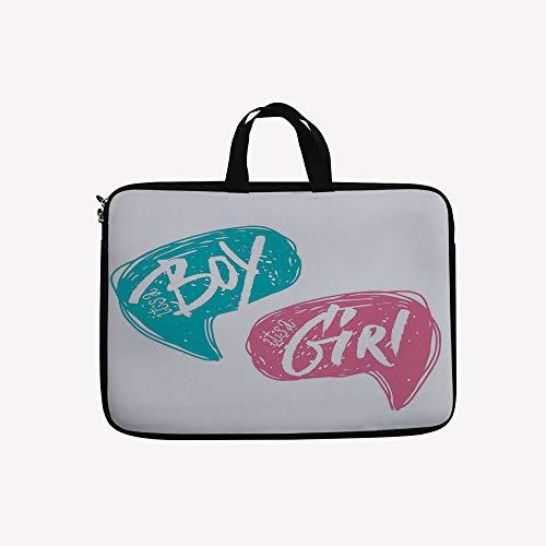 3D Printed Double Zipper Laptop Bag,Sketch Boy and Girl Lett