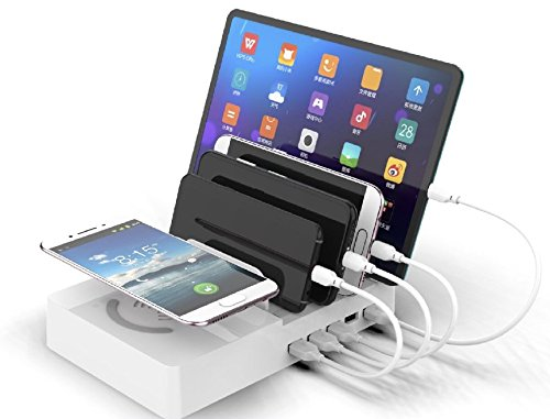 ZYJ-AWASA 6 in 1 Multi Desktop Qi Wireless Charging Station Multiple Charger Dock Organizer Stand with 5 USB Ports for iPhone X/8/8 Plus/7/Plus Ipad Samsung Galaxy Note8 S9 S8plus , 45W (White) by ZYJ-AWASA