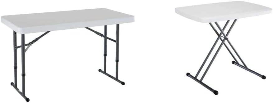 Lifetime 80160 Commercial Height Adjustable Folding Utility Table, 4 Feet, White Granite & 28241 Adjustable Folding Laptop Table TV Tray, 30 Inch, White Granite