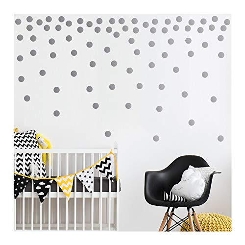 - Silver Wall Decal Dots-2 Inch(200 Decals) | Easy to Peel Easy to Stick + Safe on Painted Walls | Removable Metallic Vinyl Polka Dot Decor | Round Sticker Large Paper Sheet Set for Nursery Room