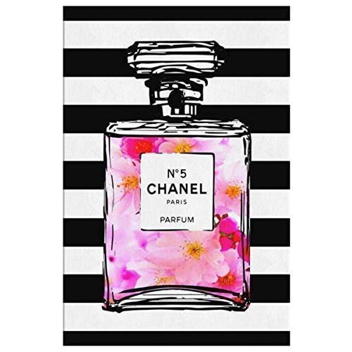 Coco Chanel Art for the Wall Decor - Chanel Perfume Canvas Painting Fashion Room Pictures - Glam Pop Art Artwork Boho Wall Art - Pink Room Decor - Living Room Bedroom 5 Sizes - Cherry Blossoms Bottled