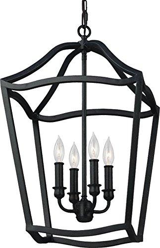 Feiss F2975/4AF Yarmouth Pendant Lighting Lantern, Iron, 4-Light (15