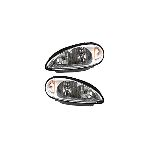 (Headlight Set Of 2 For Pt Cruiser 01-05 Right and Left Side Assembly Halogen)