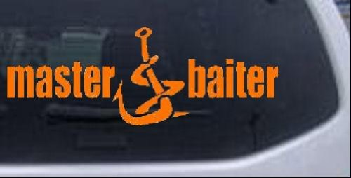 3in X 8in Orange -- Master Baiter Funny Hunting And Fishing Car Window Wall Laptop Decal Sticker
