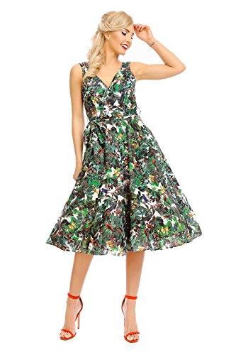 Looking Glam Mujer Retro Vintage Rockabilly Pin- Up Vestido con Vuelo Fiesta Vestido de Flores: Amazon.es: Ropa y accesorios