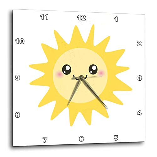 3dRose DPP_113062_1 Cute Happy Sun-Kawaii Yellow Sunny Happy Face-Summer Sunshine Smiley on White-Kids-Children-Wall Clock, 10 by 10-Inch ()