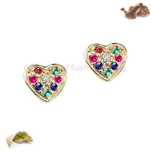 Genuine Rainbow Multi Sapphire & Diamond Heart Studs Earrings IN Solid 14k Yellow Gold Minimalist Jewelry