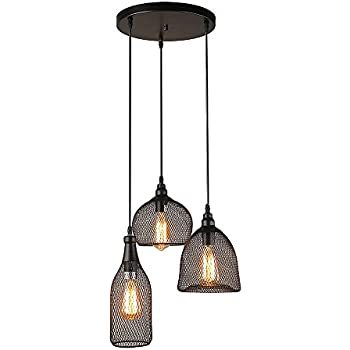 Amazon.com: LALUZ 3-Light Industrial Pendant Lighting Loft Wire Mesh ...