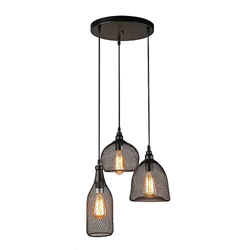 LALUZ 3-Light Industrial Pendant Lighting Loft Wire Mesh Ceiling Lights Trio Pendant - Wall Trio Lighting
