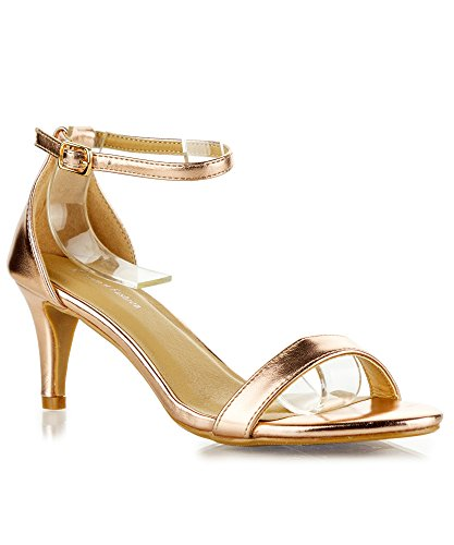 RF ROOM OF FASHION Cynthia-01 Women's Faux Leather D'Orsay Ankle Strap Kitten Heel Sandals Pumps