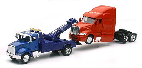 (Peterbilt Model 335 Tow Truck Blue and Peterbilt Model 387 Cab Red 1/43 by New Ray SS-15053 )
