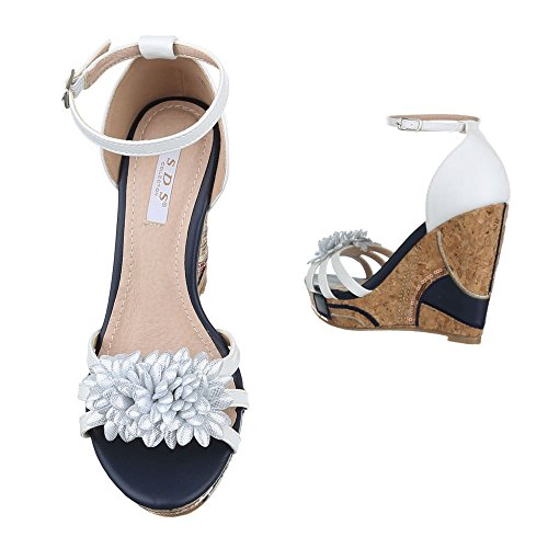 Ital-Design Keilsandaletten Damenschuhe Keilabsatz/Wedge Keilabsatz Schnalle Sandalen & Sandaletten Weiß Schwarz
