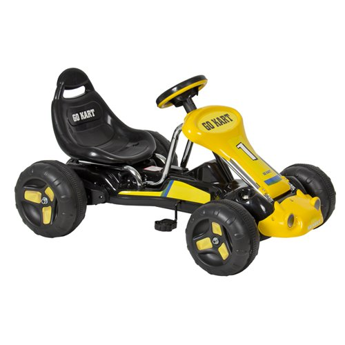 Best Choice Products Go Kart 4 Wheel Kids Ride on Car Stealth Pedal Powered Outdoor Racer Blk/Yellow (Racer Pedal Toy Car)