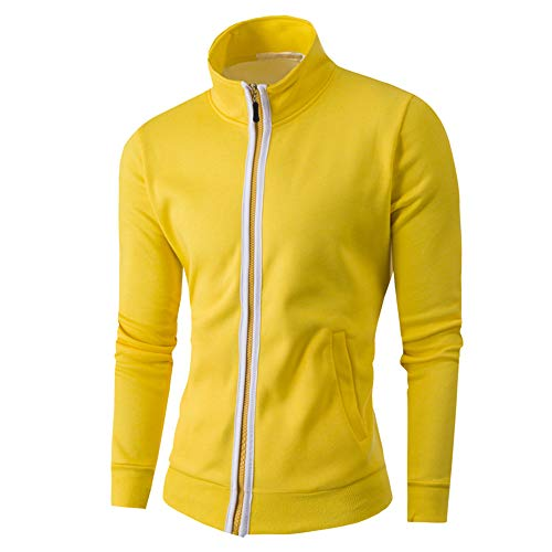 Tomatoa Men Coat Top, Fashion Mens Autumn Winter Warm Casual Zipper Long Sleeve Jumper Jacket Coat Top Blouse Yellow
