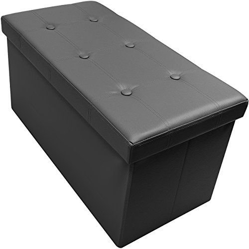 Sorbus Storage Bench Chest – Collapsible/Folding Bench Ottoman with Cover – Perfect Hope Chest, Pouffe Ottoman, Coffee Table, Seat, Foot Rest, and more – Contemporary Faux leather (Medium, Black) by Sorbus