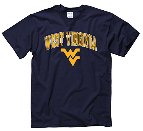 Campus Colors West Virginia Mountaineers Adult Arch & Logo Soft Style Gameday T-Shirt - Navy, Medium