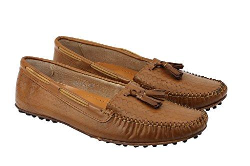 Herren Tan Echt Leder Pebble Sohle Mod Quaste Slipper Slip auf Mokassin Casual Flache Schuhe