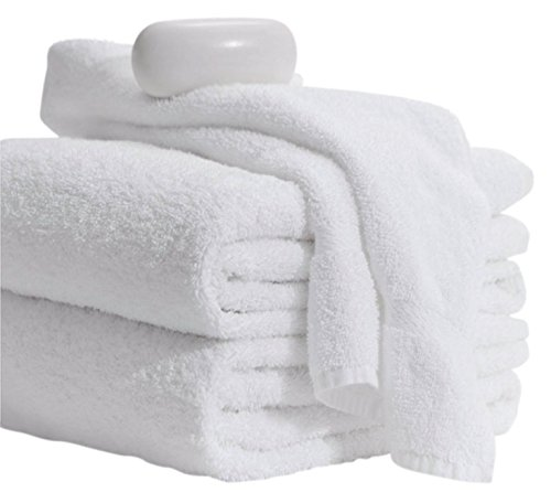 Price comparison product image MIMAATEX Basic Towels-20x40 inches-6 Pack-White-100% Cotton- Hair/Pool/Gym Multipurpose Quick Drying Light and Soft Towels