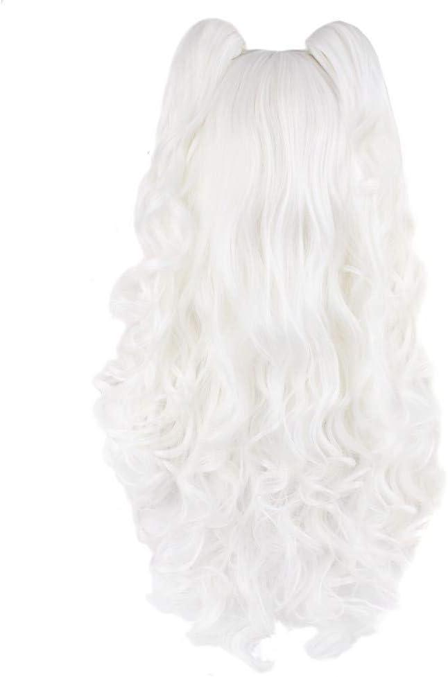 AWBYTGFZ Long Wave Lady Cosplay Peluca Cola de Caballo Blanca en Forma de Garra Peluca sintética Resistente al Calor