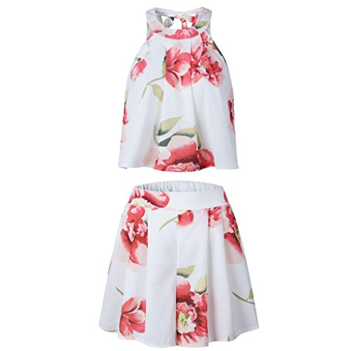 Dbardeur et Fleurs Volant Ample Rtro Femme Shorts Bretelle Dentelle T Shirt Blouse Imprime Angelof Blanc Ensemble EwgUxvgqR