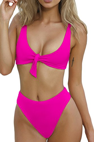 (QINSEN Ladies Flowy Cropped Tank Brazilian Thong 2PCS Bikini Bathing Suit Rosy M )