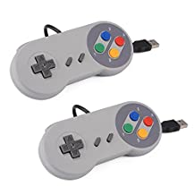 XCSOURCE 2pcs SNES Classic USB Super Nintendo Game Controller Gamepad Joystick for Windows PC/MAC AC560