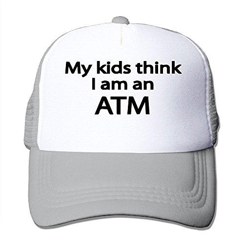 (WYF Men&women My Kids Think I Am An ATM Outdoor Hip Hop Visor Cotton Mesh Cap Adjustable)