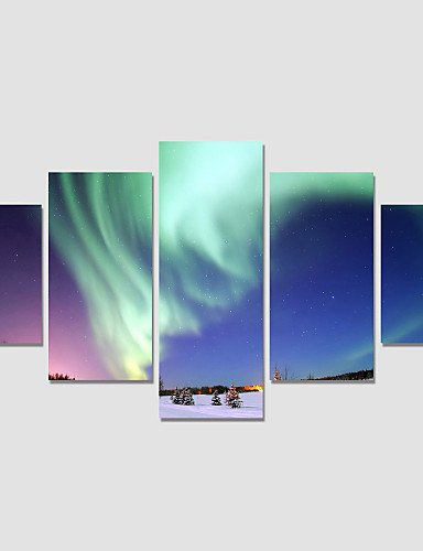 SDYJQ Modern Night Sky Painting On The Wall 5 Piece Modular Pictures For Linving Room Canvas Art Prints No Frame #2300 ()