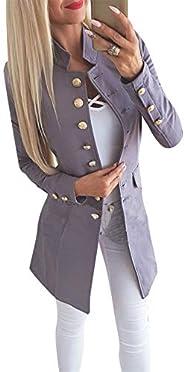 EIDEFE Women's Slim Long Sleeve Blazer Casual Solid Color Work Office Blazer S