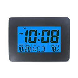 Digital Tabletop Clock with Date Week and Temperature Display- Snooze and Large Display- (Blue Backlight)- Battery Operated LCD Home and Travel Alarm Clock, Desk Clock Black