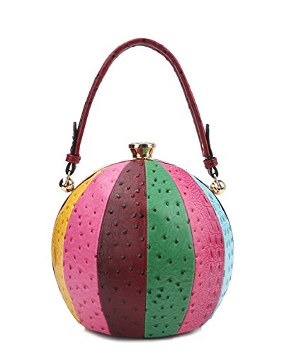 - Handbag Republic Croc Embossed Round Ball Shaped Sphere Satchel (Multi 3)