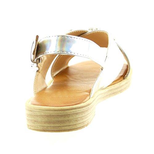 Sopily - Zapatillas de Moda Sandalias Tobillo mujer joyas Talón Tacón ancho 2 CM - Plata