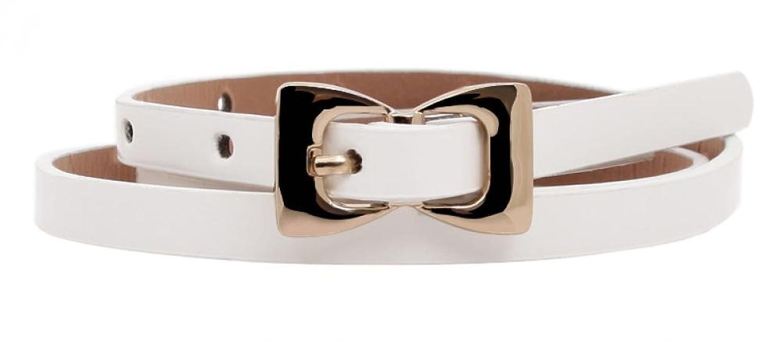 Girls Sweet Leather Patent Skinny Belt Bow Metal Slender Belt Candy Color