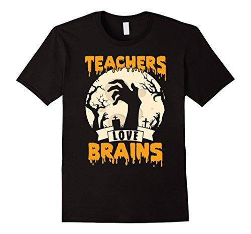 Mens Teachers Love Brains Halloween T-Shirt Large Black -