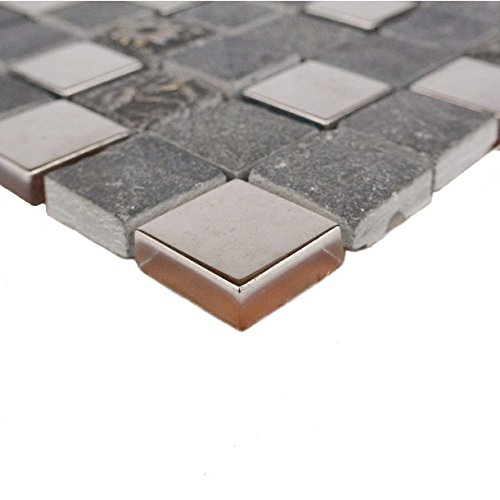 Abolos WHSMNC0101-GR Monarchy Grenada Glass & Stone Mosaic Tile Kitchen Bathroom Wall Backsplash, Gray, 5 Sheets (Grenada Sheet)