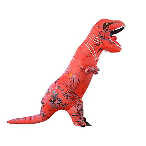 MIMI KING Dinosaur Inflatable Costume Halloween Cosplay, Tyrannosaurus T-Rex Cosplay for Adults,Red