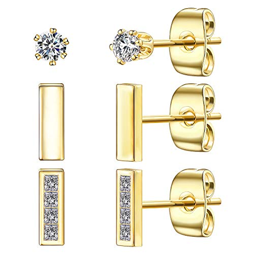Tiny Stud Earrings for Women, 14K Gold Plated 925 Sterling Silver Bar Earring CZ Simulated Diamond Ear Stud Set Brilliant Cubic Zircd Diamond Ear Stud Set Brilliant Cubic Zirconia Inlaid(Gold/3 Pairs)