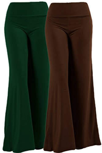 ViiViiKay Womens Maternity Wear Fold-Over Waist Wide Leg Stretchy Palazzo Pants