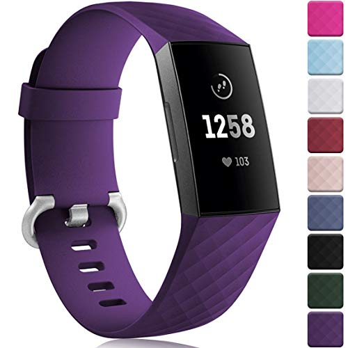 Maledan Bands Compatible with Fitbit Charge 3 for Women Men, Fits for 5.5 - 7.1 Wrist, Plum