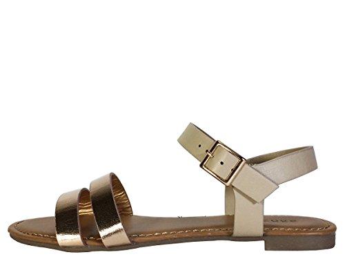 Sandalo Piatto In Bambù A Doppia Fascia Con Cinturino In Pelle Rosegold / Combinazione Nuda