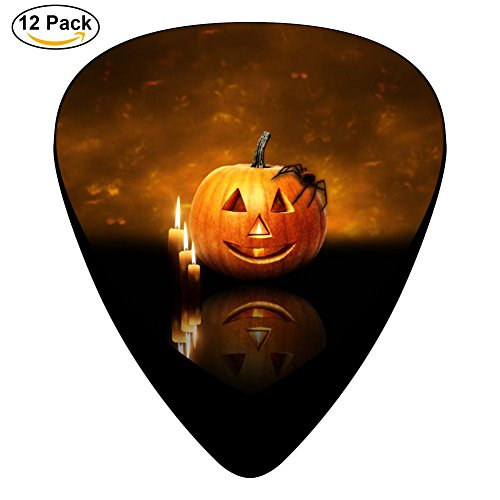 Guitar Picks Celluloid Candle Pumpkin 12 Pack Shape For Acoustic Guitar Mandolin Electric Guitar And Bass]()