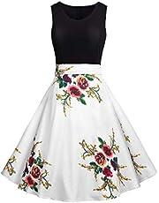 LONGYING Women's Casual Floral Printed Parchwork Sleeveless Tank Top Dress Flared Swing Midi Dress