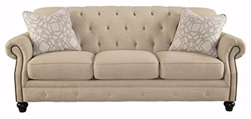 Ashley Furniture Signature Design – Kieran Sofa – Traditional Style Couch – Natural Tan